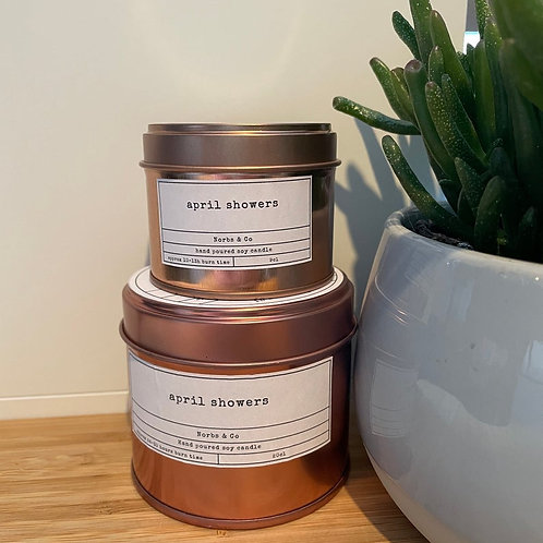 April Showers Wooden Wick Soy Wax Candle Vegan, Natural and Plastic Free