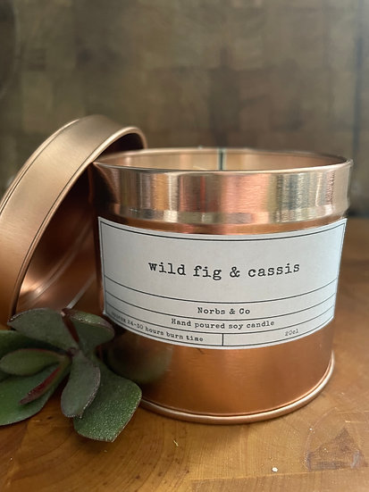 Wild Fig & Cassis Wooden Wick Soy Wax Candle   Vegan   Natural   Plastic Free  