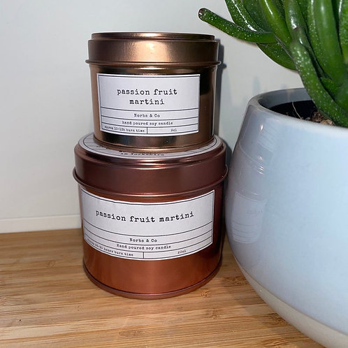 Passion Fruit Martini Wooden Wick Soy Wax Candle Vegan, Natural and Plastic Free