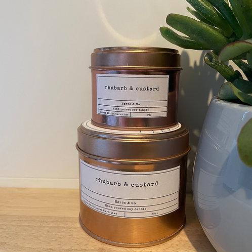Rhubarb & Custard Wooden Wick Soy Wax Candle | Vegan | Natural | Plastic Free |