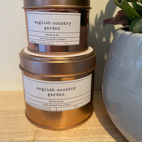 English Country Garden Wooden Wick Soy Wax Candle | Vegan | Natural | Plastic Fr