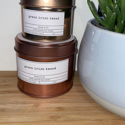 Green Irish Tweed Wooden Wick Soy Wax Candle Vegan, Natural and Plastic Free