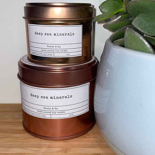 Deep Sea Minerals Wooden Wick Soy Wax Candle Vegan, Natural and Plastic Free