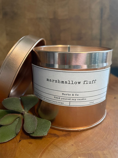 Marshmallow Fluff Wooden Wick Soy Wax Candle | Vegan | Natural | Plastic Free |