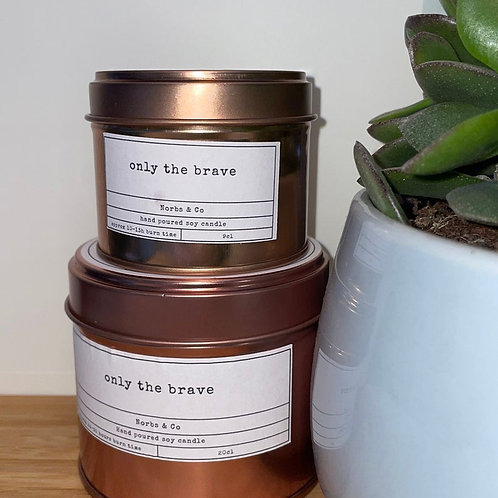 Only The Brave Wooden Wick Soy Wax Candle Vegan, Natural and Plastic Free