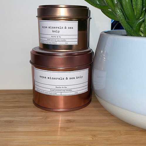 Aqua Minerals & Sea Kelp Wooden Wick Soy Wax Candle Vegan, Natural and Plastic F