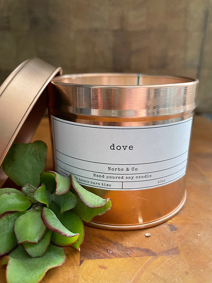 Dove Wooden Wick Soy Wax Candle | Vegan | Natural | Plastic Free | Eco Friendly