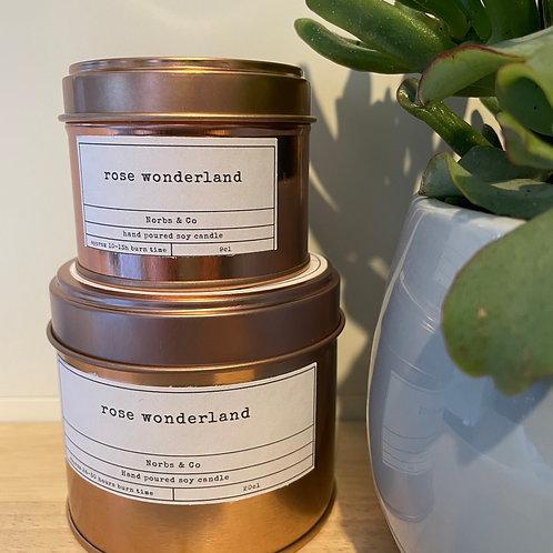 Rose Wonderland Wooden Wick Soy Wax Candle | Vegan | Natural | Plastic Free | Ec