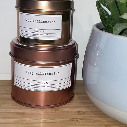 Lady Millionaire Wooden Wick Soy Wax Candle Vegan, Natural and Plastic Free