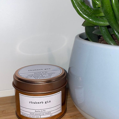Rhubarb Gin Wooden Wick Soy Wax Candle Vegan, Natural and Plastic Free