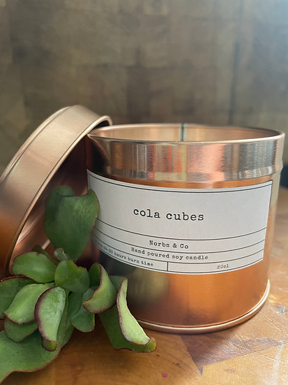 Cola Cubes Wooden Wick Soy Wax Candle | Vegan | Natural | Plastic Free | Eco Fri