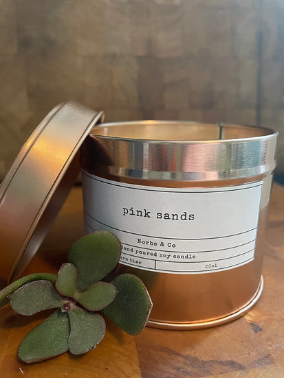 Pink Sands Wooden Wick Soy Wax Candle | Vegan | Natural | Plastic Free | Eco Fri
