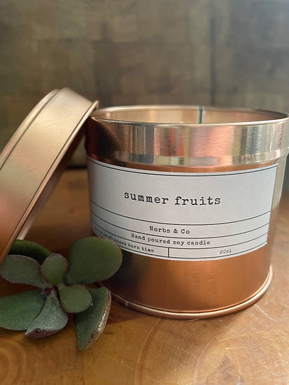 Summer Fruits Wooden Wick Soy Wax Candle   Vegan   Natural   Plastic Free   Eco