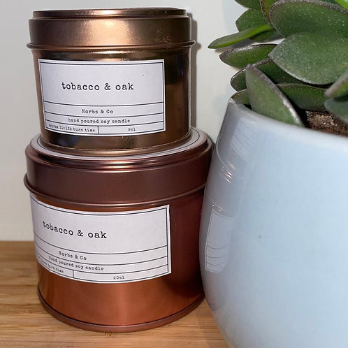 Tobacco & Oak Wooden Wick Soy Wax Candle Vegan, Natural and Plastic Free