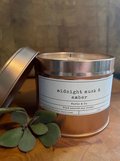 Midnight Musk & Amber Wooden Wick Soy Wax Candle   Vegan   Natural   Plastic Fre