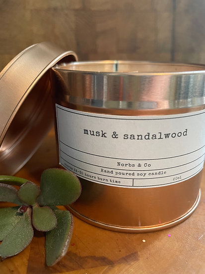 Musk & Sandalwood Wooden Wick Soy Wax Candle   Vegan   Natural   Plastic Free  