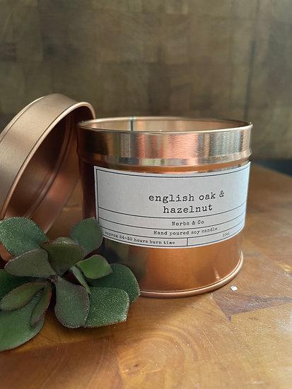 English Oak & Hazelnut Wooden Wick Soy Wax Candle | Vegan | Natural | Plastic Fr