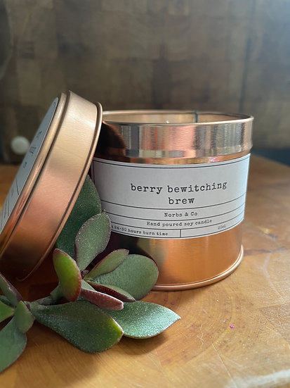 Berry Bewitching Brew Wooden Wick Soy Wax Candle   Vegan   Natural   Plastic Fre