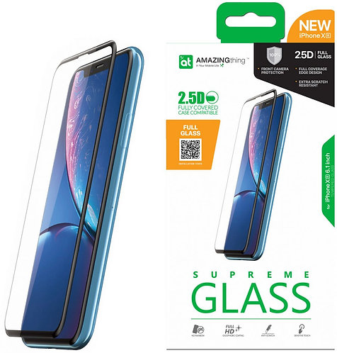 Amazing Thing iPhone XR Fully Covered FULL GLASS Screen Protector - Tempered Sup