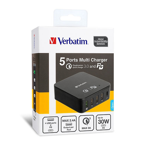 Verbatim 5 Ports PD+QC3.0 多功能充電器