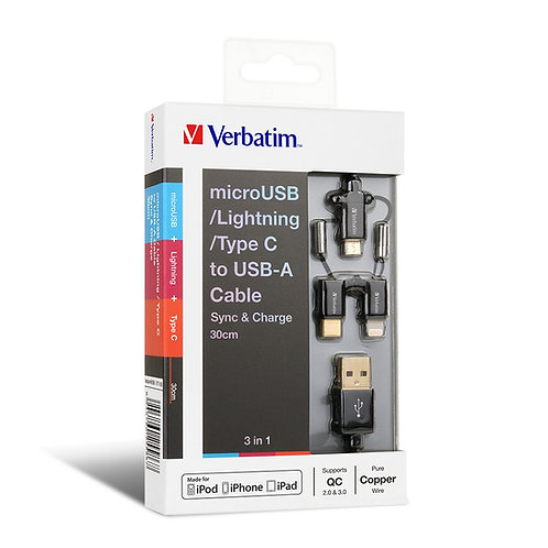 (120CM)Verbatim 3-in-1 microUSB/Lightning/Type C to USB-A C