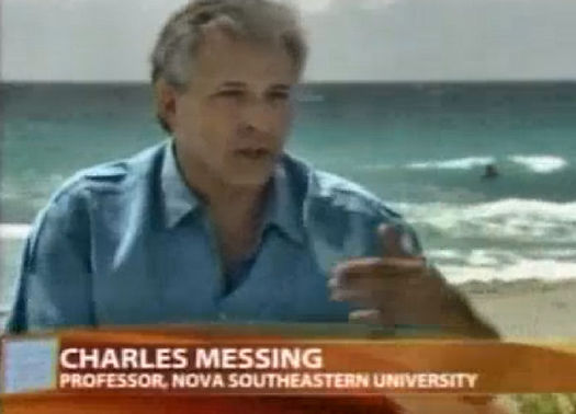 Screen-grab of Charles G Messing speaking about local marine environments at John U Lloyd Park on Good Morning America's Weekend Window segment, 2008