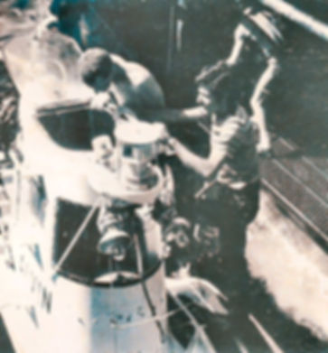 Charles G Messing boarding the submersible Alvin in the Tongue-of-the-Ocean, 1975