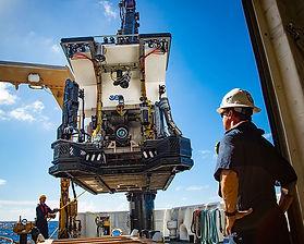 Launching NOAA's Deep Discoverer ROV aboard R/V Okeanos Explorer