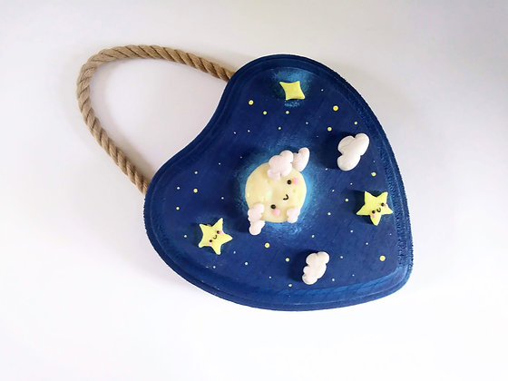 Happy Moon and Stars Wall Hanging
