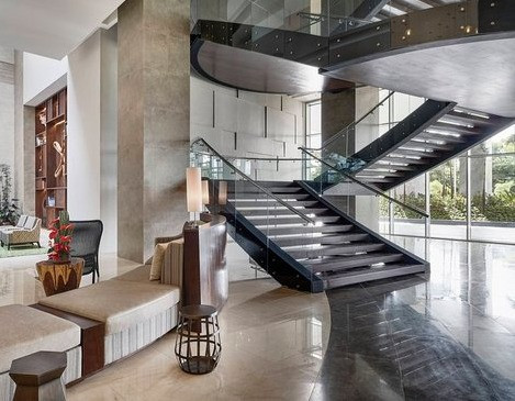 Marriott Santa Cruz, Bolivia Hotels, Hospitality Design, Hotel Interiors, Stair Design, Lobby