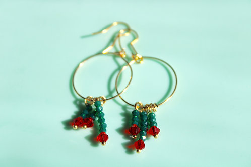 Diana Earrings- Red and Green