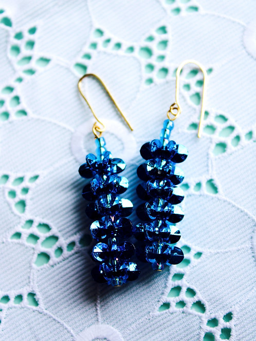 Metallic Bliss Blue Earrings