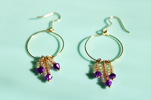 Diana Earrings- Purple and Gold