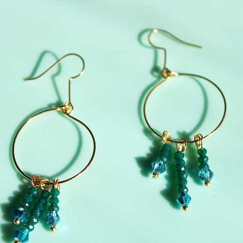 Diana Earrings- Green and Blue
