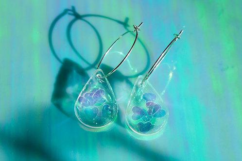 Teardrop Resin Clear Heart Earrings