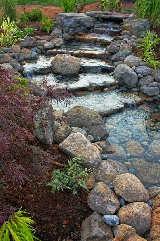 Natural river water feature