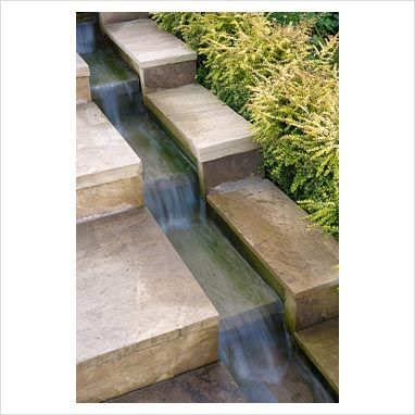 Water flowing next to steps