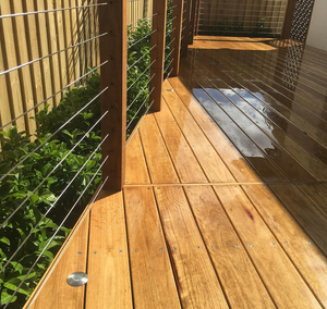 Hardwood Decking with rail and lights