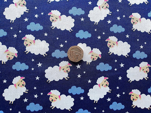 Rose & Hubble 100% Cotton Poplin Fabric - Sheep in the Night Sky