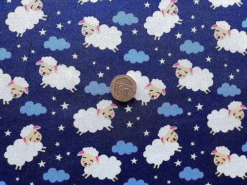 Rose & Hubble 100% Cotton Poplin Fabric - Sheep in the Night Sky