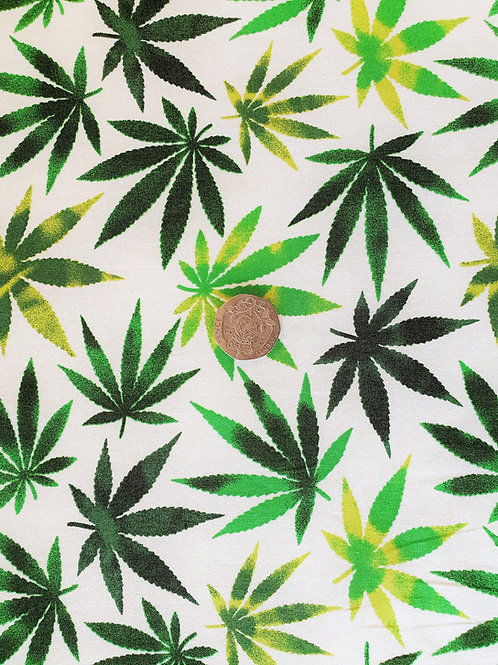 Rose & Hubble 100% Cotton Poplin Fabric - Ivory with Green Leaf Design