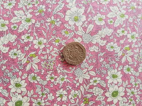 Rose & Hubble 100% Cotton Poplin Fabric - Small Floral design - Pink