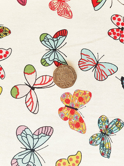 Rose & Hubble 100% Cotton Poplin Fabric - Ivory with coloured Butterflies