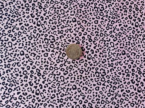 Rose & Hubble 100% Cotton Poplin Fabric - Mini Leopard Animal print - Pale Pink