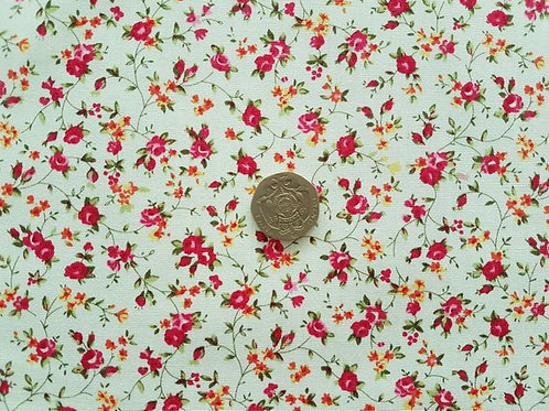 Rose & Hubble 100% Cotton Poplin Fabric - Ivory with small Pink Floral design