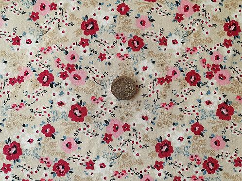 John Louden 100% Cotton Poplin Fabric - Beige with Pink Floral print