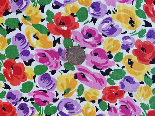 Top Quality 100% Cotton Poplin Fabric -Medium Multi-coloured Floral