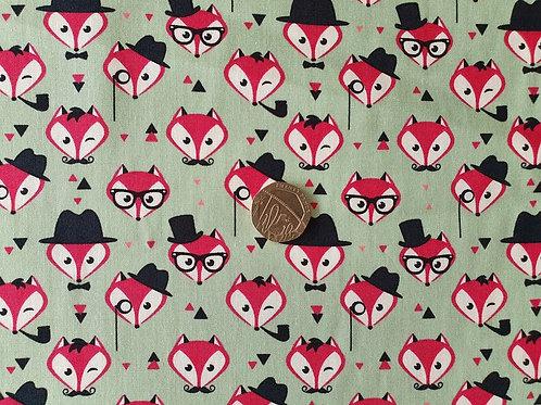 Rose & Hubble 100% Cotton Poplin Fabric - Green Mr Fox - Dressmaking , Quilting