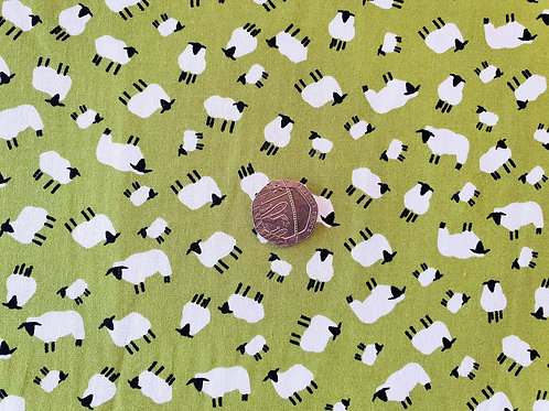 Rose & Hubble 100% Cotton Poplin Fabric - Apple Green with Black and White Sheep