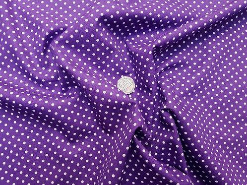 Rose & Hubble 100% Cotton Poplin Fabric - 3mm Polkadot Spot - Purple